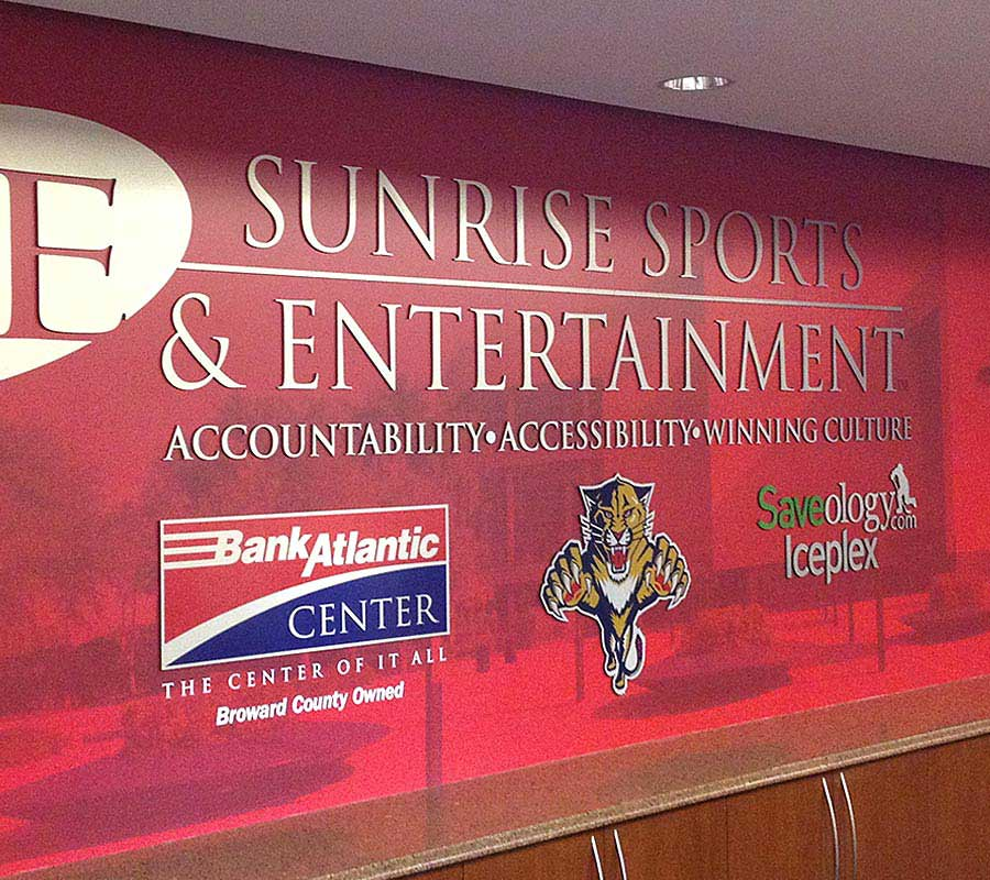 Wall murals pompano beach fl banner printing for Mural lettering