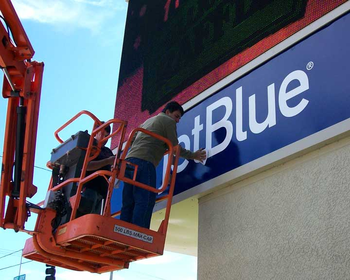 jetblue Backlit Sign Installation